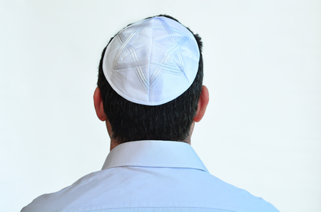 sephardi: Jewish man with kippah isolated on white background. Concept photo Judaism ,religion belief, faith, lifestyle