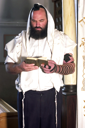 mishnah: An Israeli Jewish orthodox man prays in a synagogue, reads a torah book siddur and wears, tefillin, tzitzit and tallit.