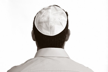 Jewish man with kippah isolated on white background. Concept photo Judaism ,religion belief, faith, lifestyle