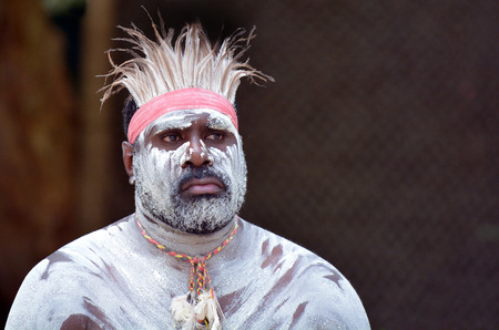australian ethnicity: Portrait of one Yugambeh Aboriginal man with body paint during Aboriginal culture show in Queensland, Australia. Stock Photo