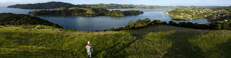 Panoramic Photo from Mangonui Pa looking down to Mangonui harbour in Northland, New Zealand. Zdjęcie Seryjne