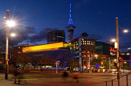 thoroughfare: AUCKLAND, NZL - SEP 28 2015:Traffic on Queen Street in Auckland New Zealand.Queen Street is the major commercial thoroughfare in the Auckland CBD, Auckland, New Zealands main population center.