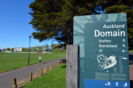 hectares: AUCKLAND,  NZL - SEP 28 2015:Auckland Domain in Auckland, New Zealand.The Auckland Domain is Aucklands oldest park, and at 75 hectares one of the largest in the city.