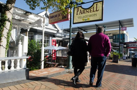 nz: AUCKLAND, NZ - MAY 29:Visitors in Parnell Road on May 29 2013.Parnell is Auckland's oldest suburb famed for its boutique style stores, art galleries, cafes and restaurants.
