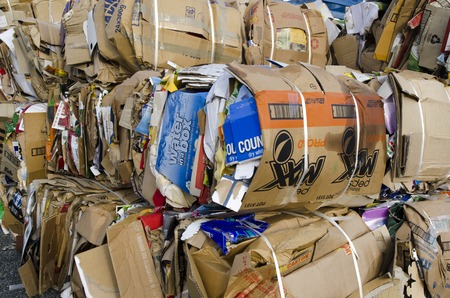 advocates: TAIPA, NZ - MAY 03:Stack of old cardboards in Taipa recycling station on May 03 2013.Recycling has been a common practice for most of human history, with recorded advocates as far back as 400 BC
