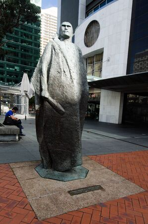 nz: AUCKLAND,NZ - MAY 26:Maori Warrior sculpture on May 26 2013.It located in Queen Elizabeth Square, Auckland and was made from bronze by the NZ artist, Molly Macalister between 1964-1966.