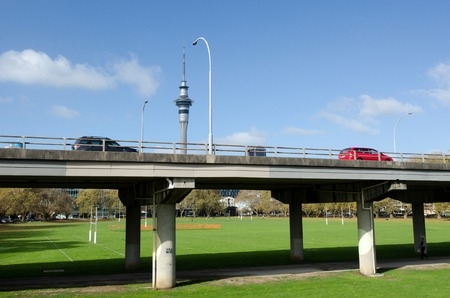 victoria park: AUCKLAND - MAY 27:Cars on State Highway 1 motorway above Victoria Park on May 27 2013.The bridge is considered one of the countrys worst traffic bottlenecks,with around 200,000 vehicles a day.
