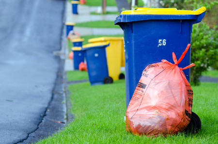 generates: AUCKLAND, NZ - MAY 27:Rubbish and recycling the street on May 27 2013. New Zealand generates 400kg of rubbish per capita. This is higher than the in other OECD member countries with average of 372kg.
