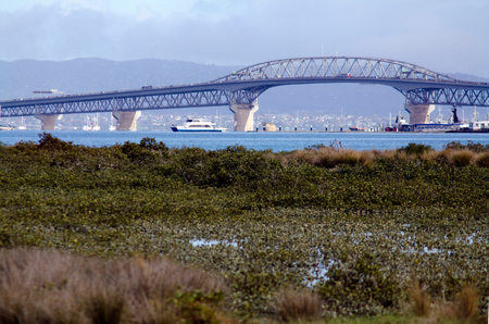 above 30: AUCKLAND,NZ - May 30:Ferry pass under Auckland Harbour Bridge on May 30 2013.It has a length of 1,020 m (3,348 ft), with a main span of 243.8 m, rising 43.27 m above high water