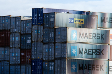 AUCKLAND,NZ - MAY 29:Stack of international-cargo-containers on Fergusson Wharf at Ports of Auckland on May 29 2013.There are currently over 17 million shipping containers in the world.