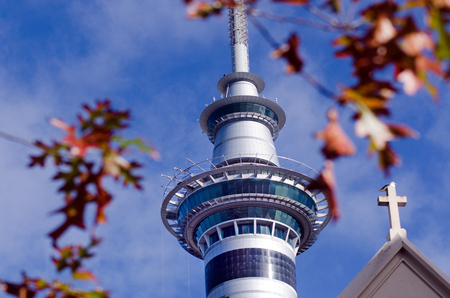 nz: AUCKLAND, NZ - MAY 29:Auckland Sky Tower on May 29 2013.At 328 metres, the Sky Tower is the tallest man-made structure in New Zealand