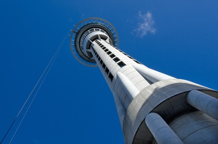 mph: AUCKLAND, NZ - MAY 29:Auckland Sky Tower on May 29 2013.The tower also features the SkyJump, a 192-metre (630ft) jump from the observation deck, during which a jumper can reach up to 85kmh (53mph).
