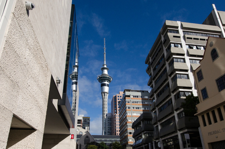 AUCKLAND, NZ - MAY 29:Auckland Sky Tower on May 29 2013.Due to its shape and height, especially when compared to the next tallest structures, it has become an iconic structure in Aucklands skyline.