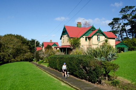 rented: AUCKLAND, NZ  - MAY 29:Chelsea Sugar Refinery village on May 29 2013.Built in 1909, the row of brick workers cottages remain in Chelseas ownership but are now rented to private individuals Editorial