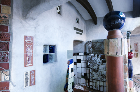 frederick street: KAWAKAWA,NZ-APR 28:Interior toilet in Kawakawa,New Zealand by famous Austrian architect Hundertwasser on April 28 2013. Its the only structure he ever built in the southern hemisphere.