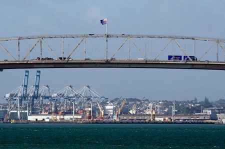 presently: AUCKLAND,NZ - May 27:Traffic on Auckland Harbour Bridge on May 27 2013.The daily average number of cars crossing the Auckland Harbour Bridge is presently around 165,000