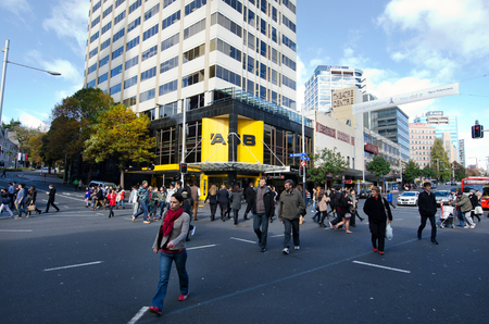 thoroughfare: AUCKLAND, NZ - MAY 29:Traffic on Queen street  on May 29 2013.Its a major commercial thoroughfare in the Auckland CBD, New Zealands main population center. Editorial