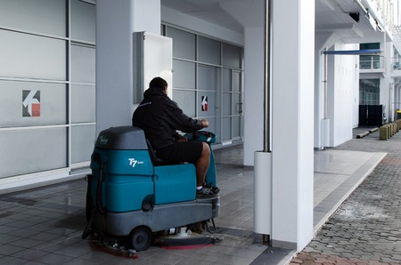 scrubbers: AUCKLAND, NZ - MAY 26: Floor scrubbers on May 26 2013. A team of Italian technicians designed the first prototype of a street sweeper 35 years ago. Editorial