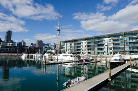 oficina antigua: AUCKLAND - JUNE 02:Yachts mooring at Auckland Viaduct Harbor Basin on June 02 2013.Its a former commercial harbor turned into a development of mostly upscale apartments, office space and restaurants.
