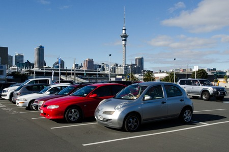 lot of: AUCKLAND - JUNE 02:Cars in a parking lot on June 02 2013.There's a growing shortage of car park spaces in the Auckland CBD. Approximately 800 car parks have gone since 2007.