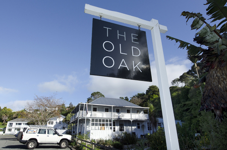 nz: MANGONUI, NZ - JUNE 11:The Oak hotel in Mangonui historic village on June 11 2013.Its home to attractive heritage buildings and still operates as a port of entry to NZ and a commercial fishing base. Editorial