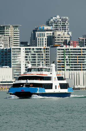 deployed: AUCKLAND, NZ - MAY 30:The MV Quick Cat, deployed on the Waiheke Island service.on May 30 2013.Fullers Group is a ferry and tourism company in Auckland, New Zealand. It operates in the Hauraki Gulf and in 2007, transported 4.2 million passengers.