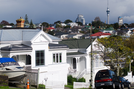but: DEVON PORT, NZ - MAY 30:Old houses in Devonport on May 30 2013.The suburb hosts the Naval Base of the Royal NZ Navy but is best known for its charming dining and drinking establishments. Editorial
