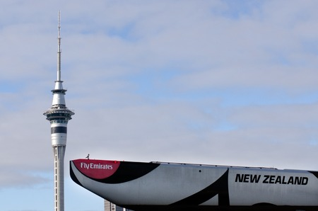 commercially: AUCKLAND, NZ - JUNE 02:The keel of Emirates Team New Zealand sail boat against the Skytower on June 02 2013.Its the only commercially funded team competing in the San Francisco Americas Cup 2013.