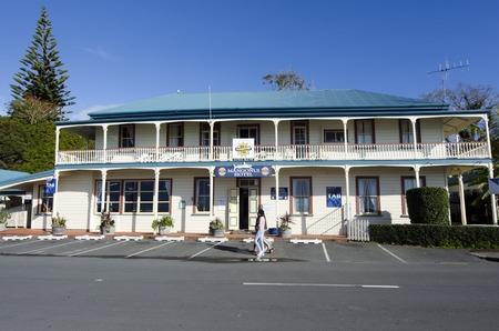 nz: MANGONUI, NZ - JUNE 11:Mangonui hotel in Mangonui historic village on June 11 2013.Its home to attractive heritage buildings and still operates as a port of entry to NZ and a commercial fishing base.