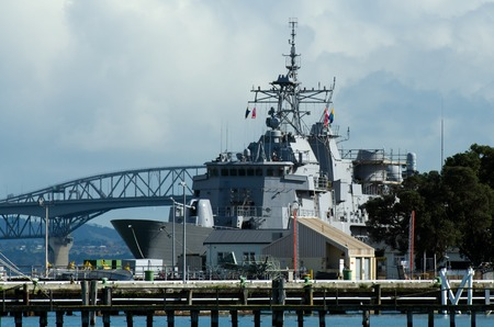 anzac bridge: DEVON PORT, NZ  - MAY 30: HMNZS Te Mana F111 in Devonport Naval Base on May 30 2013.Its the home of the Royal New Zealand Navy since 1841. Editorial