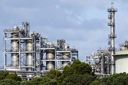 oil refinery: WHANGAREI,NZ - JULY 28:Marsden Point Oil Refinery on July 28 2013.Its produces 70 per cent of New Zealands refined oil needs, with the rest being imported from Singapore, Australia and South Korea