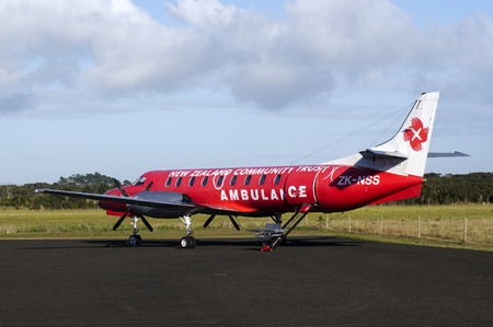 KAITAIA, NZ - JULY 08:Air ambulance plane on July 08 2013.Emergency Medical Service necessary in remote places with sparsely populated settlements that often inaccessible by road.