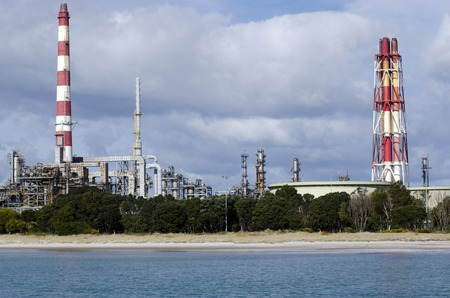 petrolium: WHANGAREI,NZ - JULY 28:Marsden Point Oil Refinery on July 28 2013.Its produces 70 per cent of New Zealands refined oil needs, with the rest being imported from Singapore, Australia and South Korea