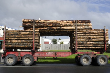 logging truck: KAITAIA, NZ - AUG 29:Stacked wooden logs, tree trunks on a logging truck on Aug 29 2013.Its New Zealand third largest export earner with international sales in excess of $4 billion.