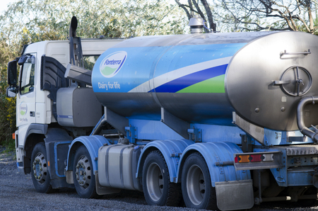 grocers: KERIKERI, NZ - AUG 11:Fonterra Milk truck on Aug 11 2013..Fonterra responsible for 30% of the worlds dairy exports with revenue exceeding NZ$20 billion, is New Zealands largest company. Editorial