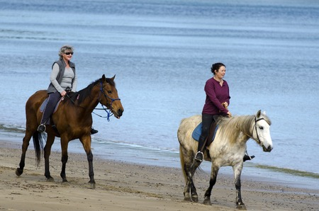 famous women: HIHII BEACH, NZ - SEP 01: Two women ride horses on Hihi beach on September 01 2013. Its a famous travel destination in northland New Zealand.