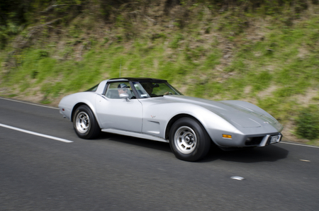 corvette: CABLE BEAY, NZ - SEP 07:Classic silver 1973 Corvette Stingray Coupe on September 07 2013.In NZ there are more then 13,000 vintage classic cars in immaculate condition. Editorial