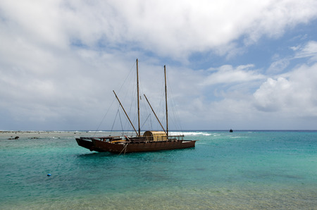 hulled: RAROTONGA - SEP 16:Doubled hulled vaka in Rarotonga on Sep 16 2013.The first sailing canoes emerged in ancient Polynesia over 1,000 years ago.