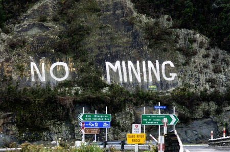 coal mine: KAEO,NZ - SEP 15:No Mining protest sign on Sep 15 2013.Coal mining produced 5.3 millions tonnes of coal in 2010 but acid mine drainage from coal mining is a serious problem in New Zealand.