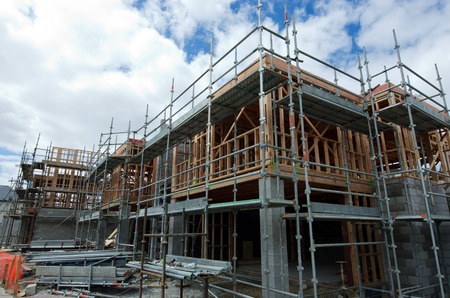 building safety: AUCKLAND,NZ - JAN 11:New homes building site on JAN 11 2014.House prices are booming around New Zealand - with the average price of an Auckland city home rocketing to 735,692. Editorial