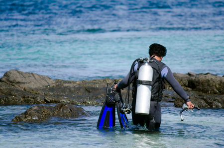 nz: RANGIPUTA, NZ - DEC 20:Diver prepares to dive in Rangiputa beach on Dec 20 2013.Its one of the best diving sites in New Zealand. Editorial