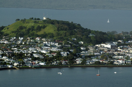 DEVONPORT, NZ - OCT 08: Aerial view of Devonport on May 30 2013.The suburb hosts the Naval Base of the Royal NZ Navy but is best known for its charming dining and drinking establishments. Editorial