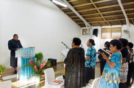rarotonga: RAROTONGA - SEP 16:Sunday service at the Methodist Church of Fiji on Sep 16 2013.94% of Cook Islanders associated themselves with a faith and the Methodist Church is the newest established on 2010. Editorial