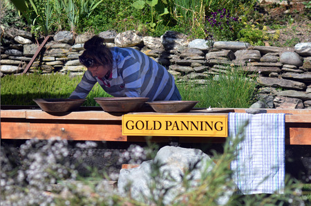 tourist attraction: ARROWTOWN,NZ - JAN 17:Gold panning in Arrowtown on Jan 17 2014.Its a popular travel destination with well preserved buildings dating from the gold mining days of the town.