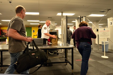 AUCKLAND - DEC 31:Airport security station on Dec 31 2013.Since the 1970s, Air Terrorism, hijackings and bombings became the method of choice for subversive, militant organizations around the world.