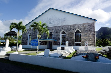 rarotonga: RAROTONGA - SEP 21:Titikaveka Church on Sep 21 2013.The dominant religion of Polynesia and the Cook Islands is Christianity since the first missionaries arrived in 1821.