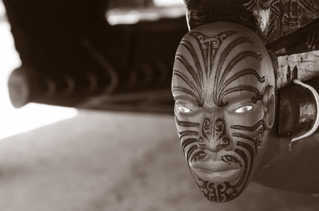 war decoration: WAITANGI - JAN 07: Wood curving decoration on the 35 metre Maori Waka war canoe on Jan 07 2014 in Waitangi National Reserve, Bay of Islands, Far North District, Northland Region, New Zealand NZ. BW