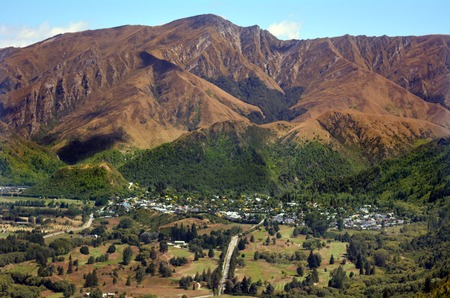 gold mining: ARROWTOWN,NZ - JAN 17:Aerial view of Arrowtown on Jan 17 2014.Its a popular travel destination in New Zealand with well preserved buildings dating from the gold mining days of the town.