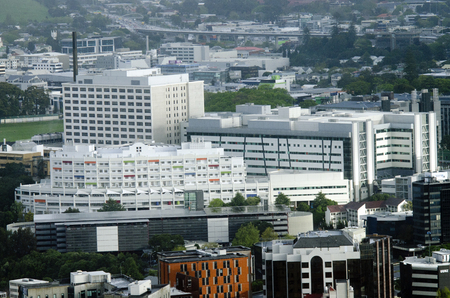 nz: AUCKLAND,NZ - OCT 08:Aerial view of Auckland City Hospital on Oct 08 2013.The Auckland City Hospital is Aucklands main hospital and the largest hospital in New Zealand Editorial