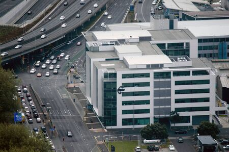 awarded: AUCKLAND - OCT 08:Aerial view of Air New Zealand headquarters on Oct 08 2013.Its the national airline of NZ that was awarded Airline of the Year in 2010 and 2012 by the Air Transport World Global Airline Awards.Photo by Rafael Ben-AriChameleons Eye